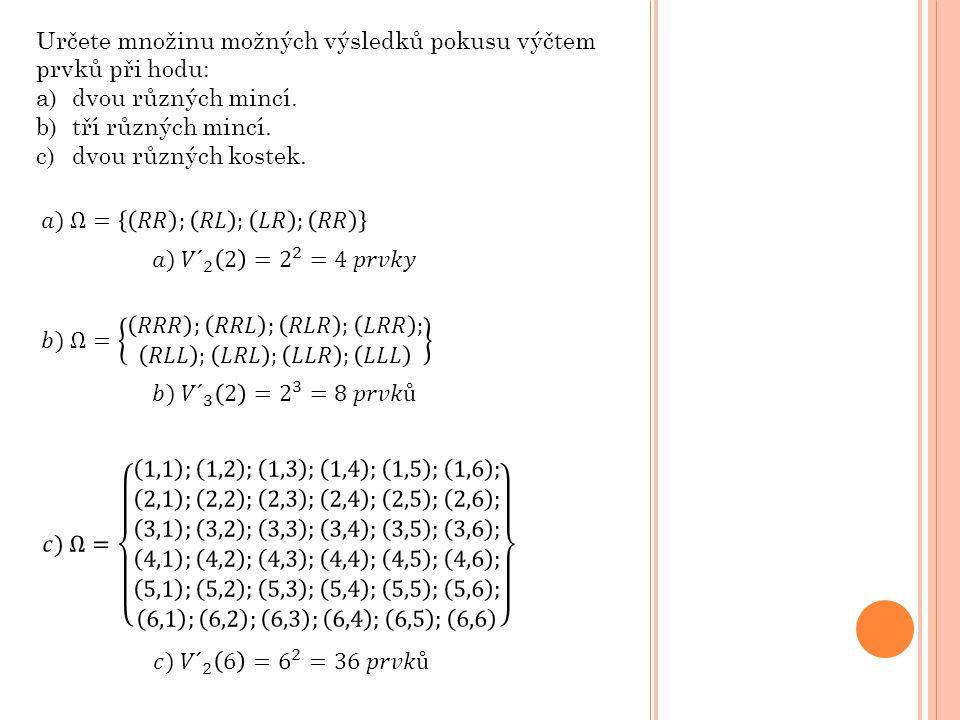 Určete množinu možných výsledků pokusu výčtem prvků při hodu: a)dvou různých mincí.