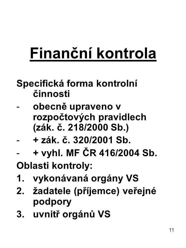 11 Finanční kontrola Specifická forma kontrolní činnosti -obecně upraveno v rozpočtových pravidlech (zák. č. 218/2000 Sb.) -+ zák. č. 320/2001 Sb. -+
