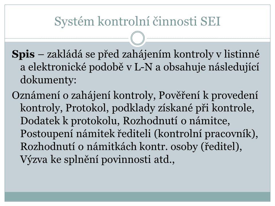 Systém kontrolní činnosti SEI Spis – zakládá se před zahájením kontroly v listinné a elektronické podobě v L-N a obsahuje následující dokumenty: Oznám