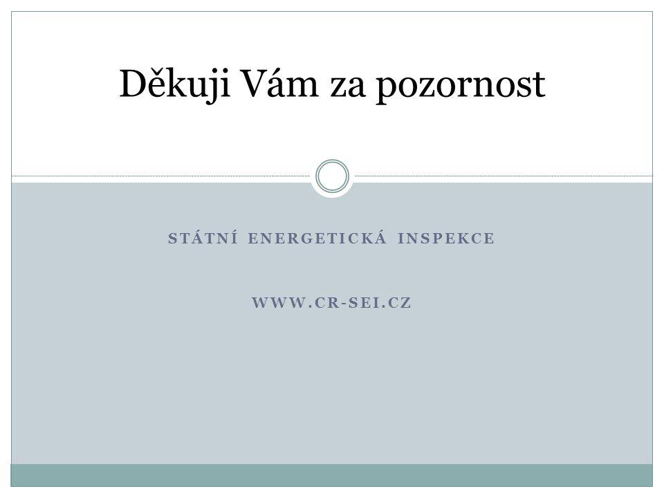 STÁTNÍ ENERGETICKÁ INSPEKCE WWW.CR-SEI.CZ Děkuji Vám za pozornost