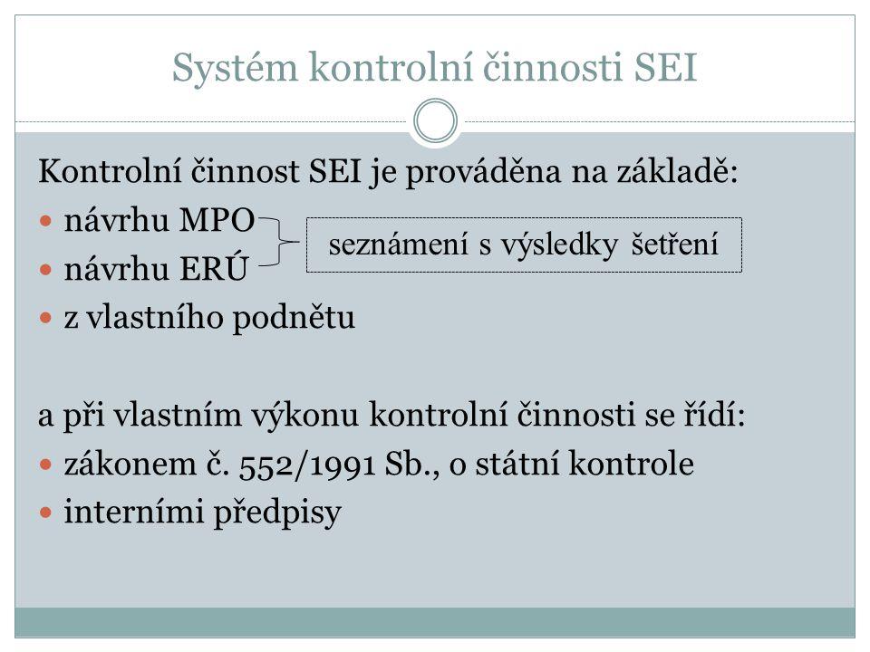 Systém kontrolní činnosti SEI Kontrolní činnost SEI je prováděna na základě: návrhu MPO návrhu ERÚ z vlastního podnětu a při vlastním výkonu kontrolní