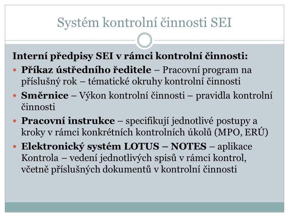 Systém kontrolní činnosti SEI Interní předpisy SEI v rámci kontrolní činnosti: Příkaz ústředního ředitele – Pracovní program na příslušný rok – témati
