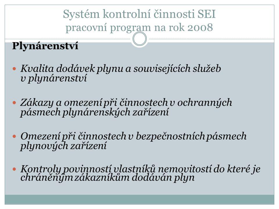 Systém kontrolní činnosti SEI pracovní program na rok 2008 Plynárenství Kvalita dodávek plynu a souvisejících služeb v plynárenství Zákazy a omezení p