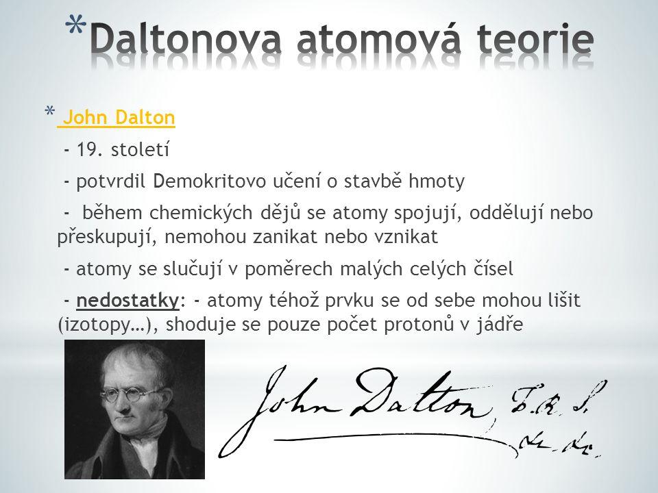 * John Dalton - 19. století - potvrdil Demokritovo učení o stavbě hmoty - během chemických dějů se atomy spojují, oddělují nebo přeskupují, nemohou za