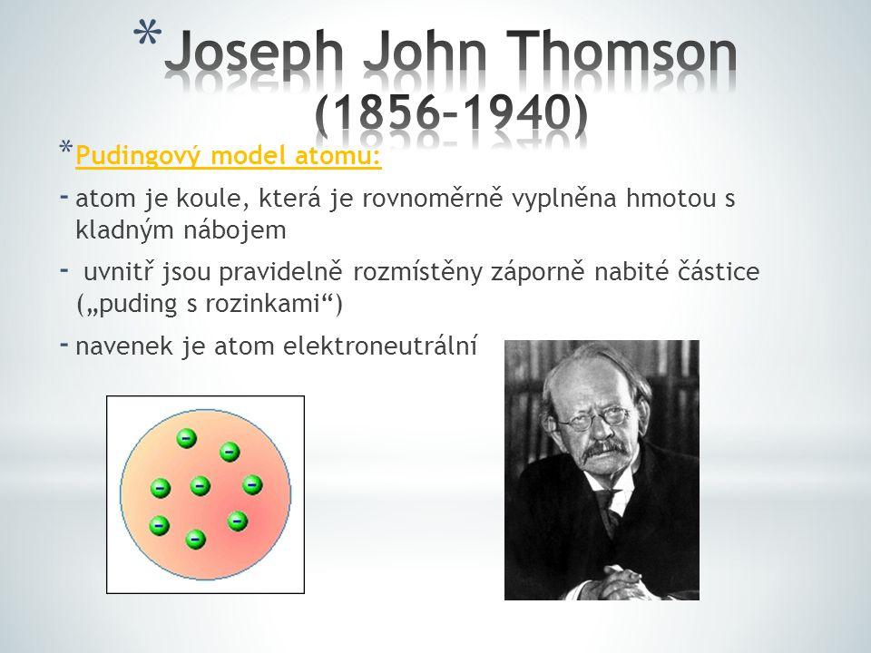 * Pudingový model atomu: - atom je koule, která je rovnoměrně vyplněna hmotou s kladným nábojem - uvnitř jsou pravidelně rozmístěny záporně nabité čás