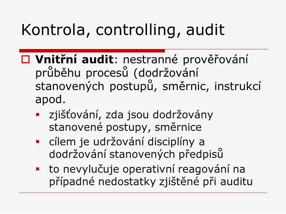Kontrola, controlling, audit  Vnitřní audit: nestranné prověřování průběhu procesů (dodržování stanovených postupů, směrnic, instrukcí apod.