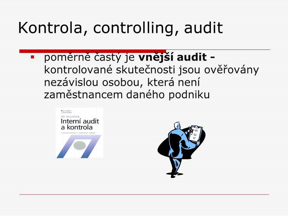 Kontrola, controlling, audit  poměrně častý je vnější audit - kontrolované skutečnosti jsou ověřovány nezávislou osobou, která není zaměstnancem daného podniku