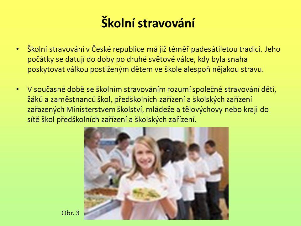 Školní stravování Školní stravování v České republice má již téměř padesátiletou tradici. Jeho počátky se datují do doby po druhé světové válce, kdy b