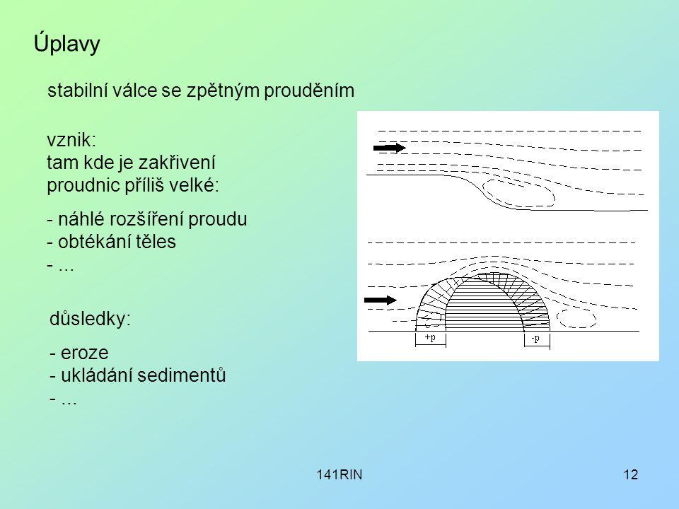 141RIN12 Úplavy stabilní válce se zpětným prouděním vznik: tam kde je zakřivení proudnic příliš velké: - náhlé rozšíření proudu - obtékání těles -...