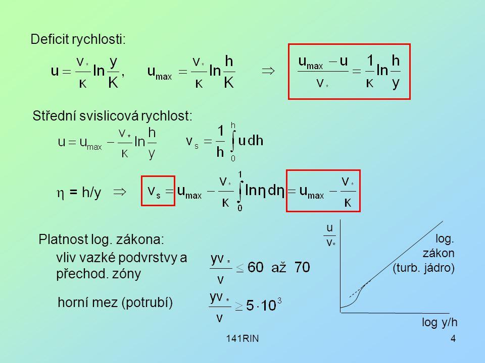 141RIN4 Deficit rychlosti:  Střední svislicová rychlost:  = h/y  Platnost log. zákona: vliv vazké podvrstvy a přechod. zóny horní mez (potrubí) log