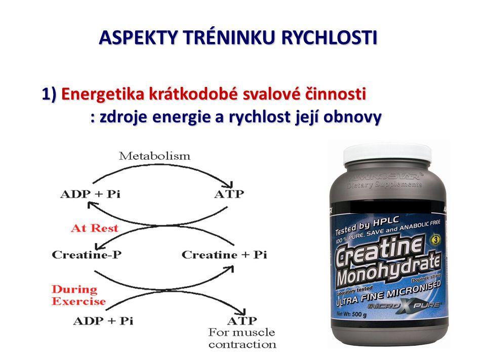 ASPEKTY TRÉNINKU RYCHLOSTI 1) Energetika krátkodobé svalové činnosti : rychlost regenerace CP