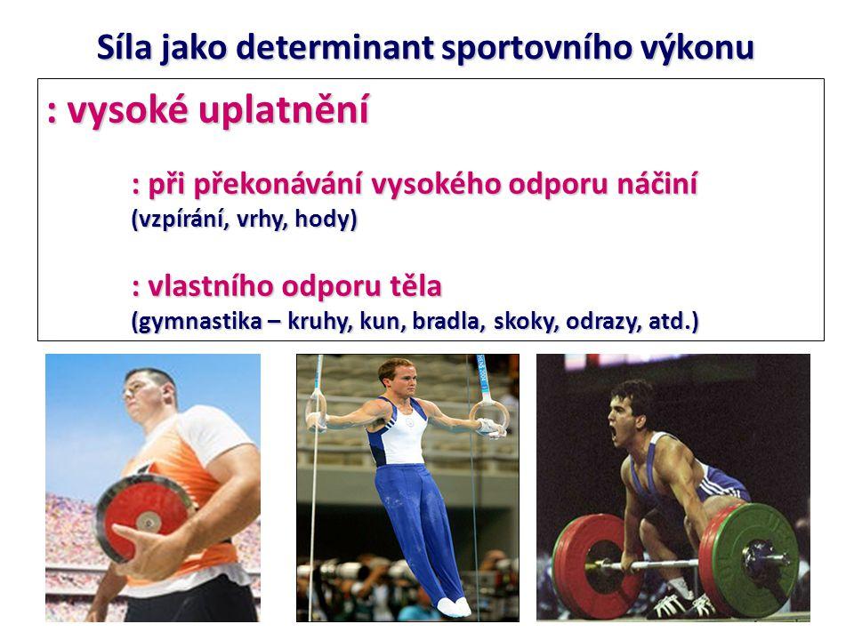nižší uplatnění: : aktivní překonávání odporu soupeře (úpolové sporty) : odpor prostředí (plavání, veslování, kanoistika,…) Síla jako determinant sportovního výkonu