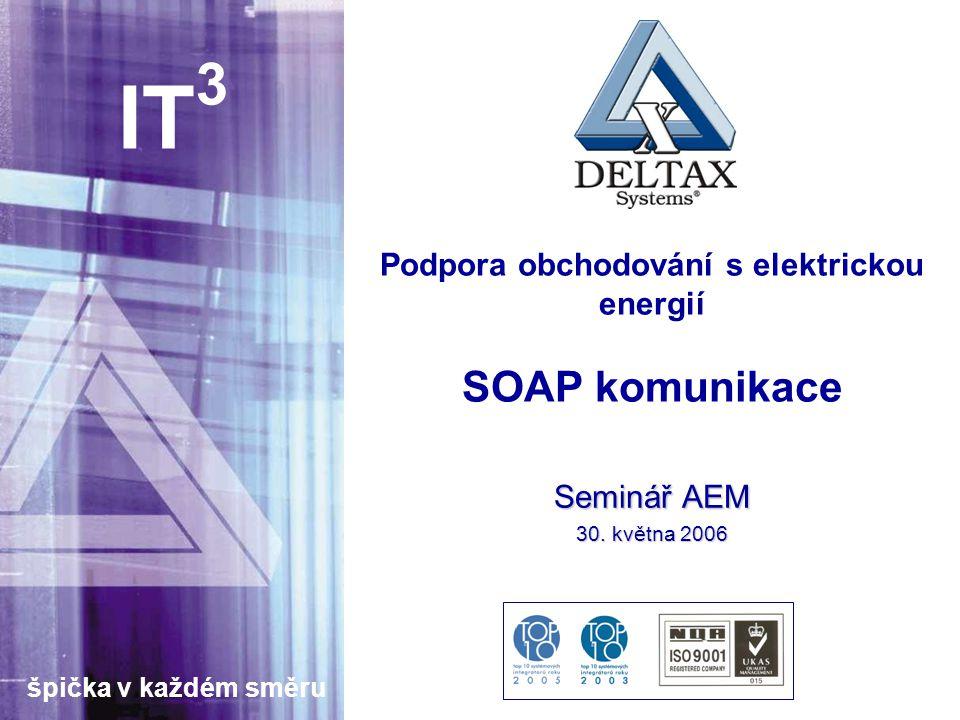 špička v každém směru IT 3 Podpora obchodování s elektrickou energií SOAP komunikace Seminář AEM 30.