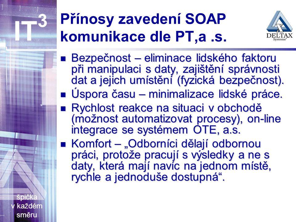 špička v každém směru IT 3 Přínosy zavedení SOAP komunikace dle PT,a.s.