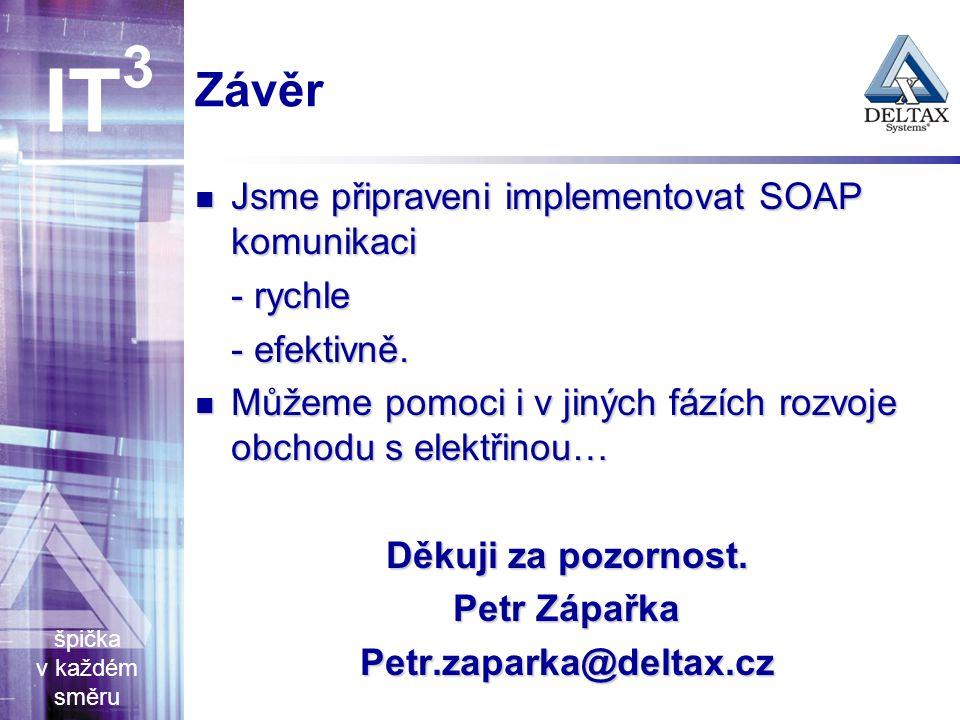 špička v každém směru IT 3 Závěr Jsme připraveni implementovat SOAP komunikaci Jsme připraveni implementovat SOAP komunikaci - rychle - efektivně.