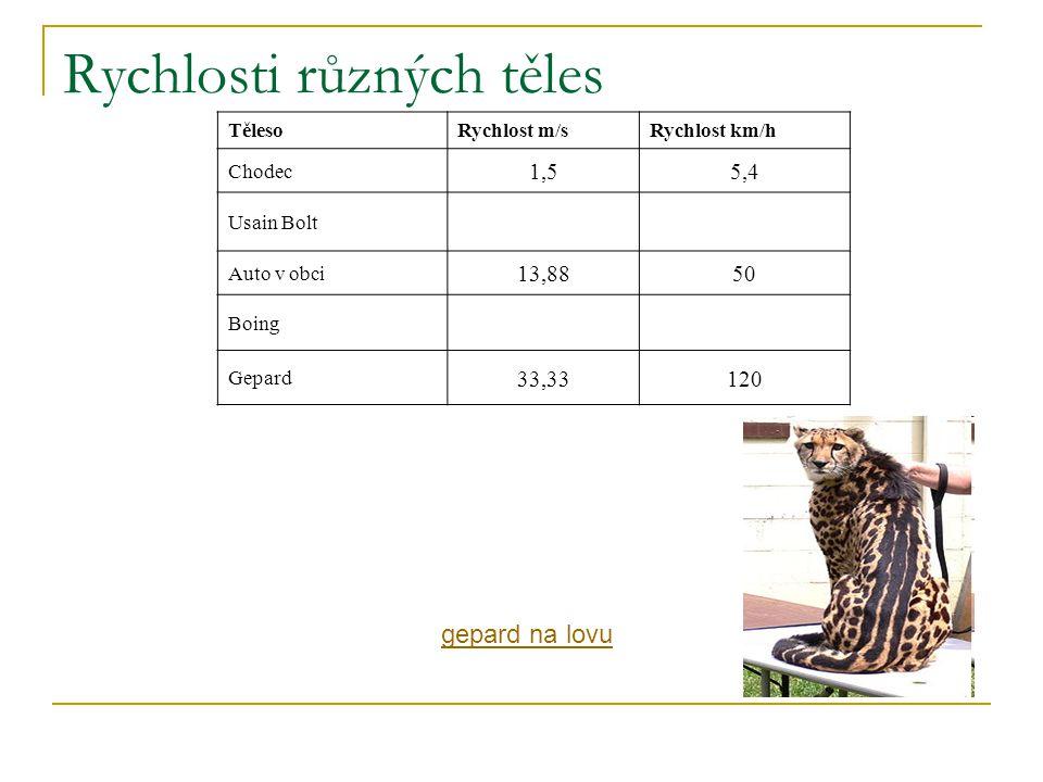 Rychlosti různých těles TělesoRychlost m/sRychlost km/h Chodec 1,55,4 Usain Bolt Auto v obci 13,8850 Boing Gepard 33,33120 gepard na lovu