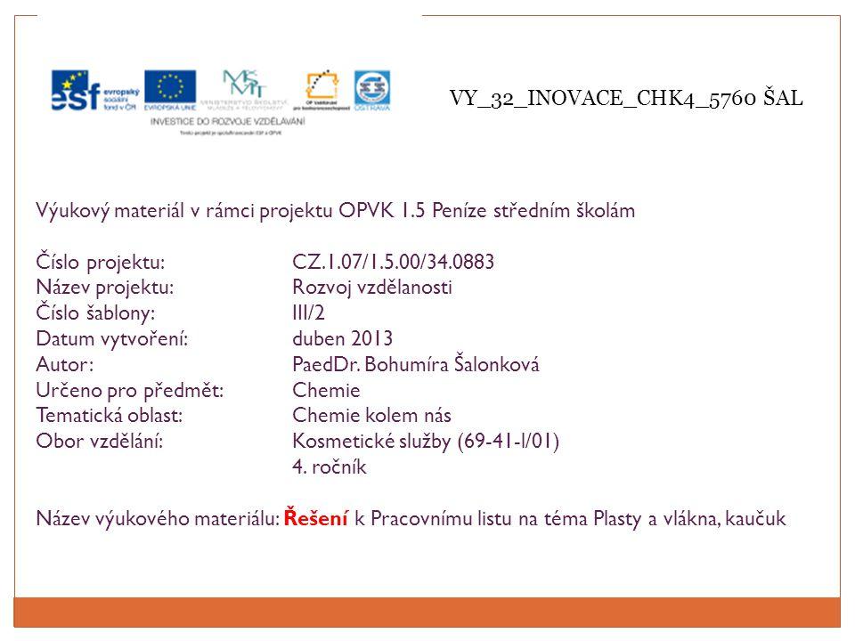 Výukový materiál v rámci projektu OPVK 1.5 Peníze středním školám Číslo projektu:CZ.1.07/1.5.00/34.0883 Název projektu:Rozvoj vzdělanosti Číslo šablony: III/2 Datum vytvoření:duben 2013 Autor:PaedDr.