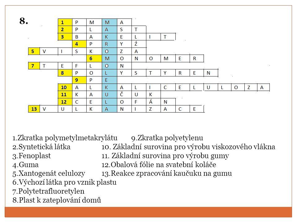 1.Zkratka polymetylmetakrylátu 9.Zkratka polyetylenu 2.Syntetická látka10.