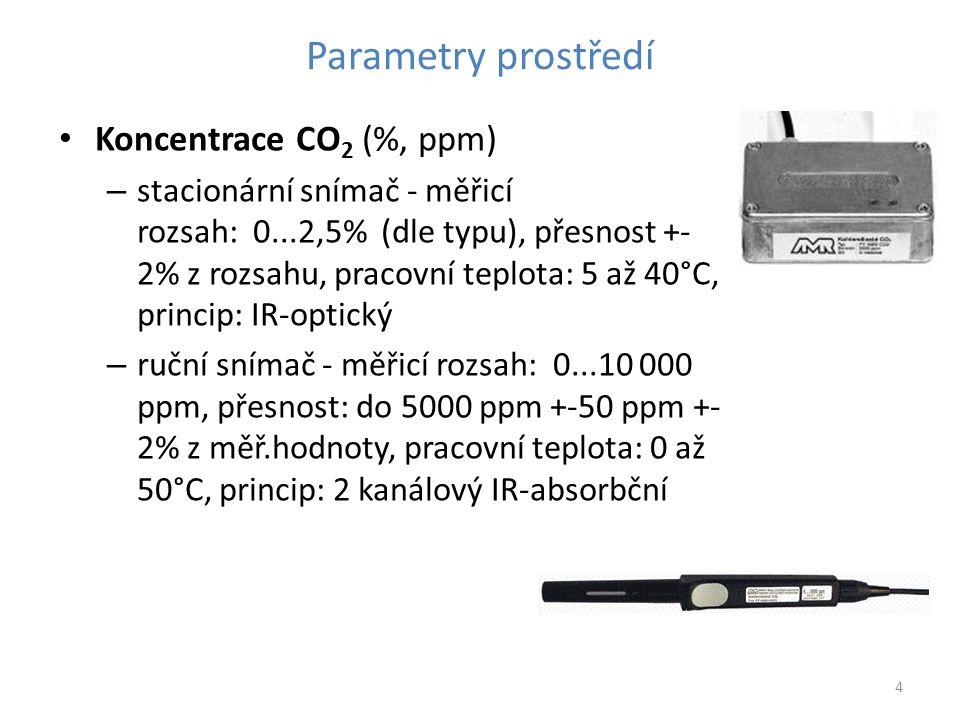 4 Parametry prostředí Koncentrace CO 2 (%, ppm) – stacionární snímač - měřicí rozsah: 0...2,5% (dle typu), přesnost +- 2% z rozsahu, pracovní teplota: 5 až 40°C, princip: IR-optický – ruční snímač - měřicí rozsah: 0...10 000 ppm, přesnost: do 5000 ppm +-50 ppm +- 2% z měř.hodnoty, pracovní teplota: 0 až 50°C, princip: 2 kanálový IR-absorbční