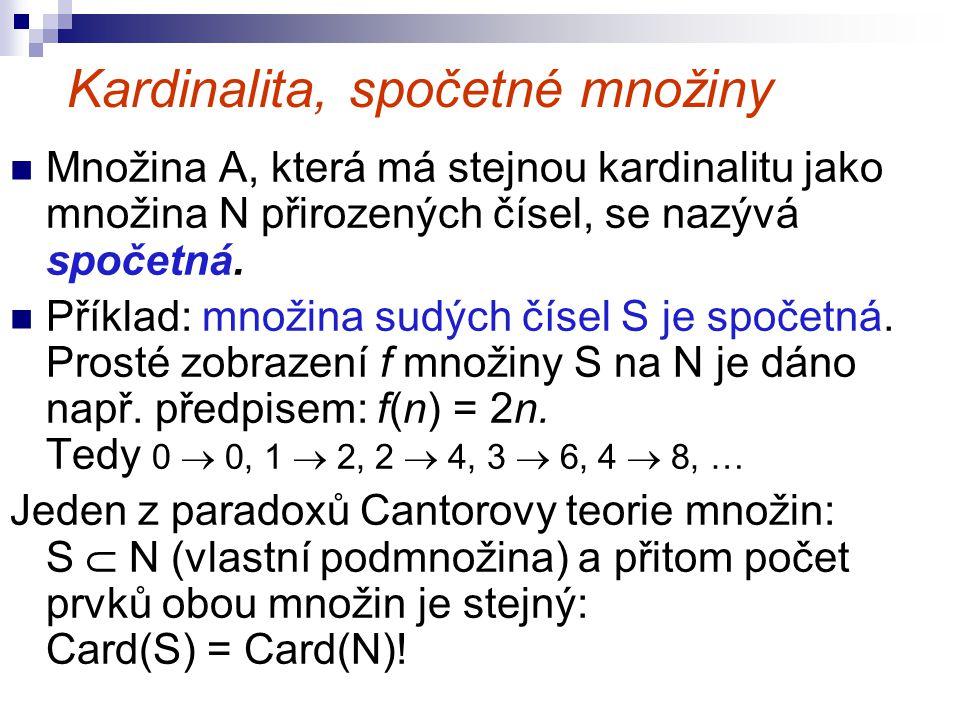 Kardinalita, spočetné množiny Množina A, která má stejnou kardinalitu jako množina N přirozených čísel, se nazývá spočetná. Příklad: množina sudých čí