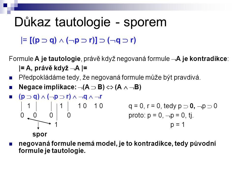 Důkaz tautologie - sporem |= [(p  q)  (  p  r)]  (  q  r) Formule A je tautologie, právě když negovaná formule  A je kontradikce: |= A, právě