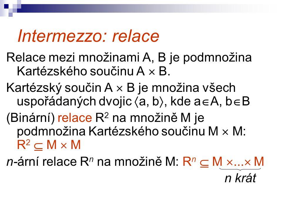 Intermezzo: relace Relace mezi množinami A, B je podmnožina Kartézského součinu A  B. Kartézský součin A  B je množina všech uspořádaných dvojic  a