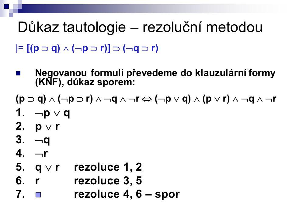 Důkaz tautologie – rezoluční metodou |= [(p  q)  (  p  r)]  (  q  r) Negovanou formuli převedeme do klauzulární formy (KNF), důkaz sporem: (p 