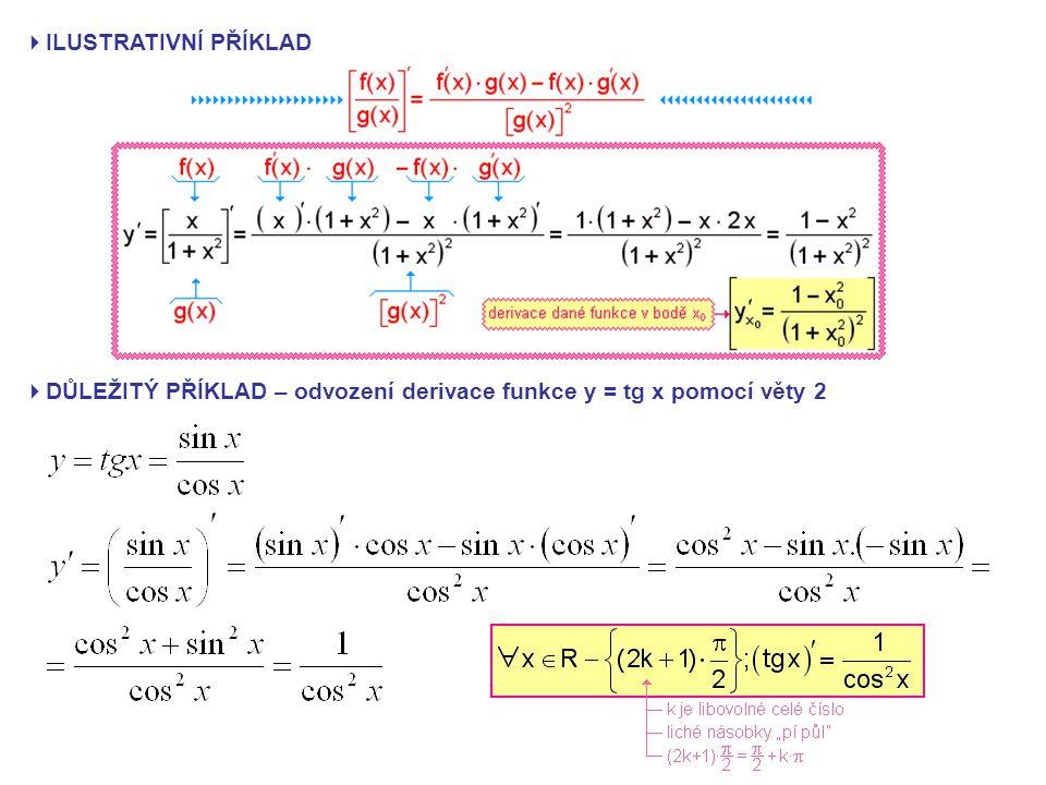  ILUSTRATIVNÍ PŘÍKLAD  DŮLEŽITÝ PŘÍKLAD – odvození derivace funkce y = tg x pomocí věty 2