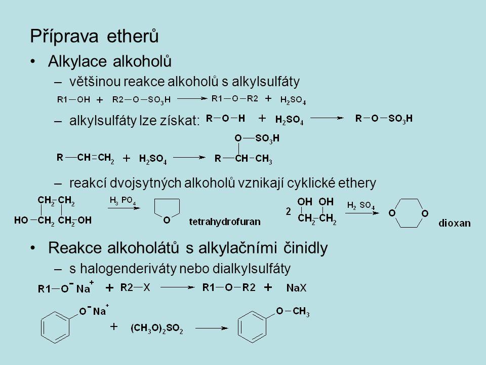 Příprava etherů Alkylace alkoholů –většinou reakce alkoholů s alkylsulfáty –alkylsulfáty lze získat: –reakcí dvojsytných alkoholů vznikají cyklické et