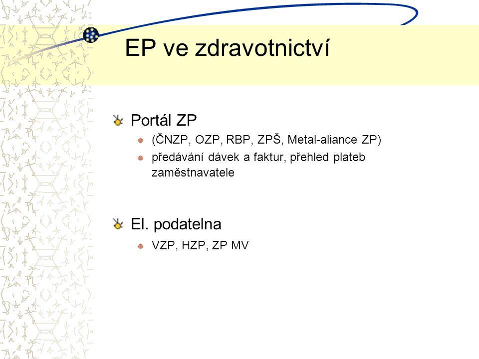 EP ve zdravotnictví Portál ZP ® (ČNZP, OZP, RBP, ZPŠ, Metal-aliance ZP)  předávání dávek a faktur, přehled plateb zaměstnavatele El.