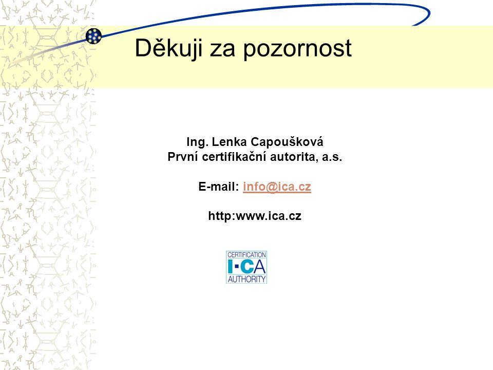 Děkuji za pozornost Ing.Lenka Capoušková První certifikační autorita, a.s.
