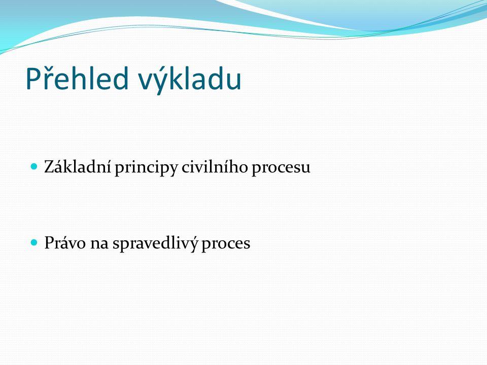 Přehled výkladu Základní principy civilního procesu Právo na spravedlivý proces