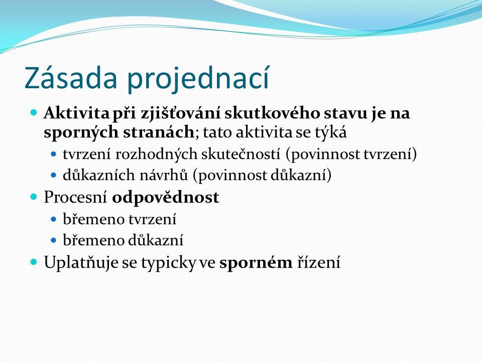 Zásada projednací Aktivita při zjišťování skutkového stavu je na sporných stranách; tato aktivita se týká tvrzení rozhodných skutečností (povinnost tvrzení) důkazních návrhů (povinnost důkazní) Procesní odpovědnost břemeno tvrzení břemeno důkazní Uplatňuje se typicky ve sporném řízení