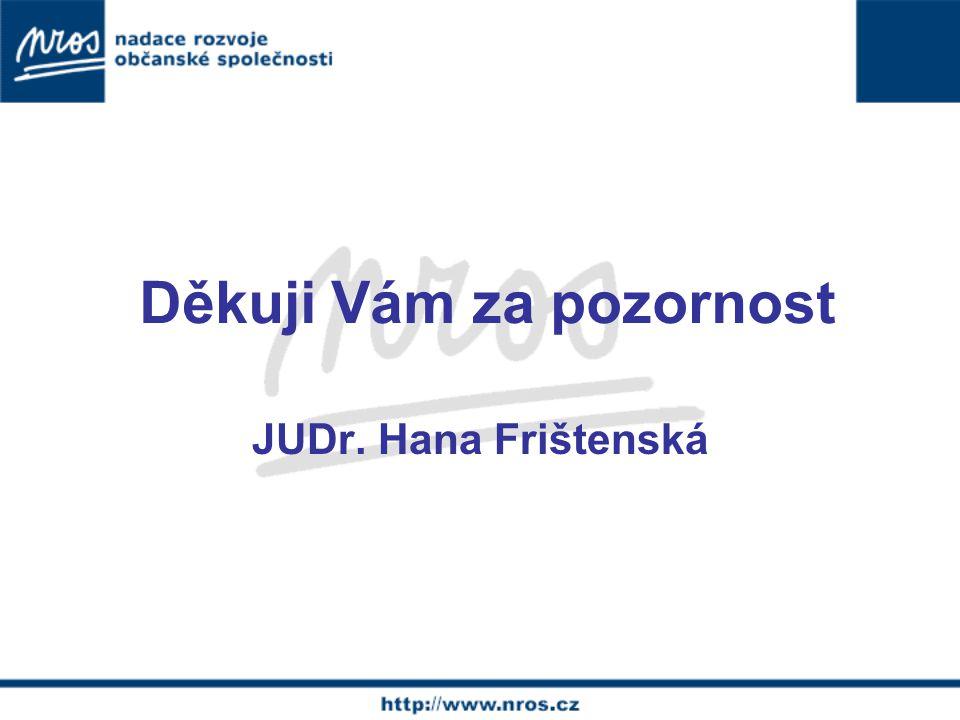 Děkuji Vám za pozornost JUDr. Hana Frištenská