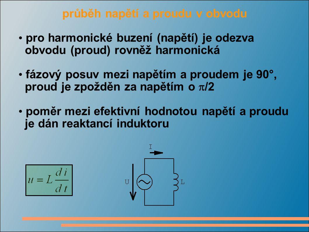 průběh napětí a proudu v obvodu pro harmonické buzení (napětí) je odezva obvodu (proud) rovněž harmonická fázový posuv mezi napětím a proudem je 90°, proud je zpožděn za napětím o  /2 poměr mezi efektivní hodnotou napětí a proudu je dán reaktancí induktoru