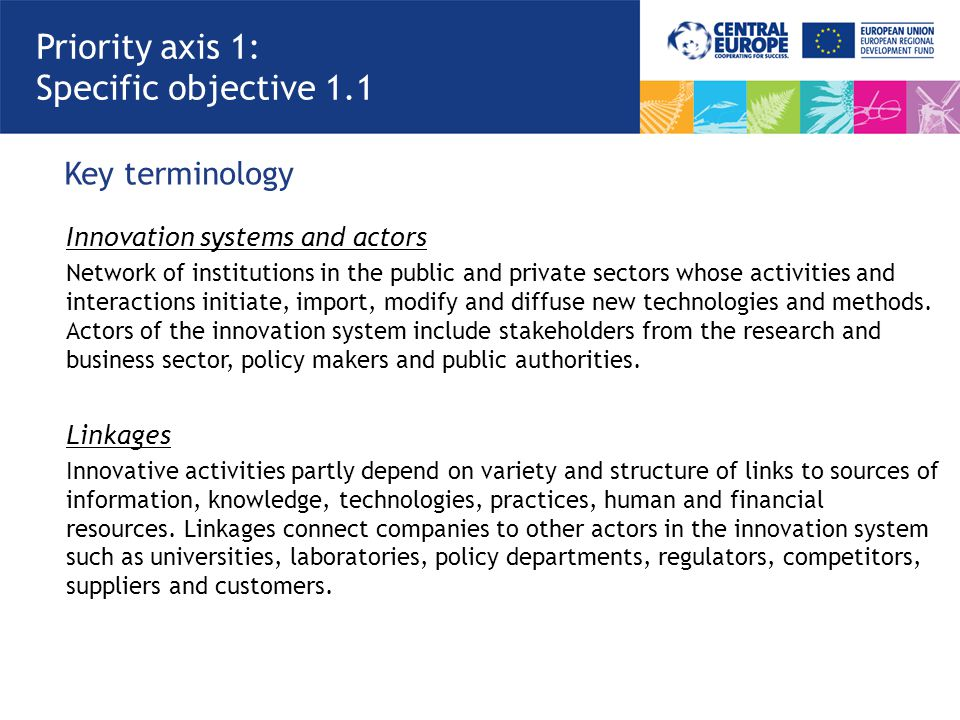 Key terminology Priority axis 1: Specific objective 1.1 Innovation systems and actors Network of institutions in the public and private sectors whose activities and interactions initiate, import, modify and diffuse new technologies and methods.