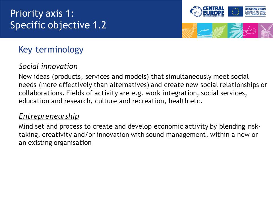 Key terminology Priority axis 1: Specific objective 1.2 Social innovation New ideas (products, services and models) that simultaneously meet social ne