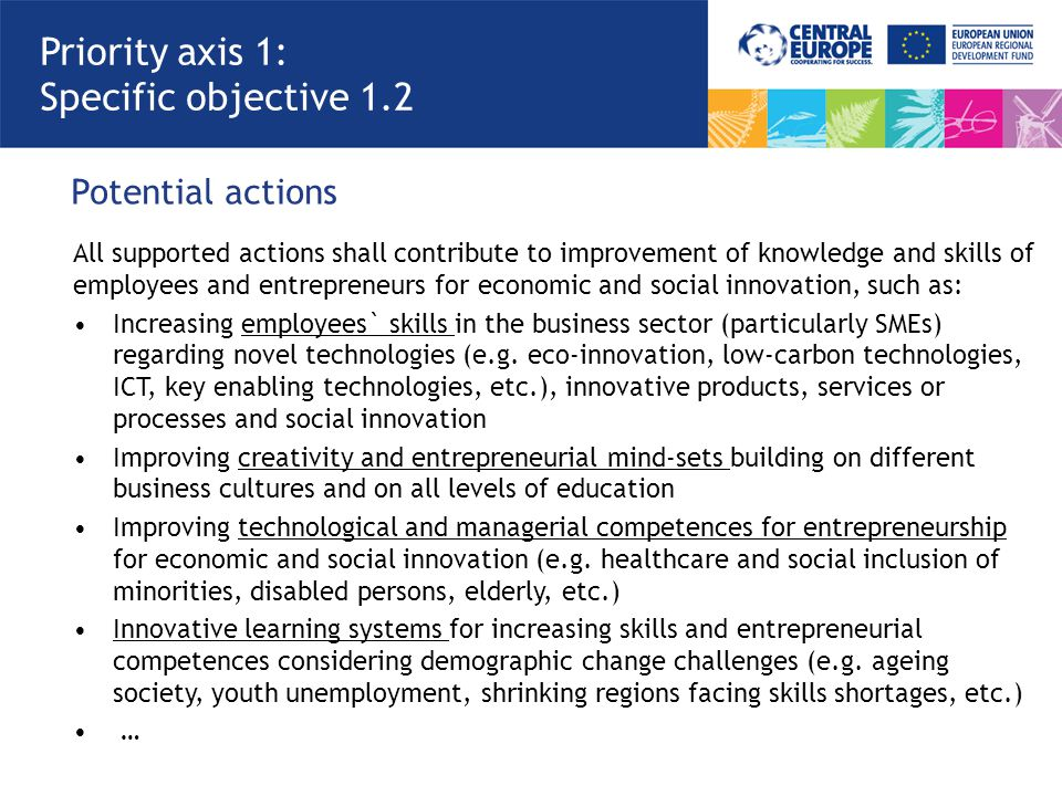 Potential actions Priority axis 1: Specific objective 1.2 All supported actions shall contribute to improvement of knowledge and skills of employees and entrepreneurs for economic and social innovation, such as: Increasing employees` skills in the business sector (particularly SMEs) regarding novel technologies (e.g.