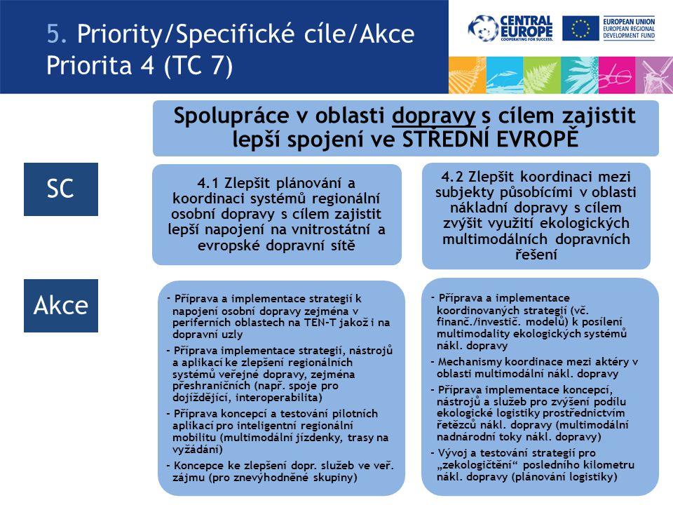 5. Priority/Specifické cíle/Akce Priorita 4 (TC 7) Spolupráce v oblasti dopravy s cílem zajistit lepší spojení ve STŘEDNÍ EVROPĚ 4.1 Zlepšit plánování