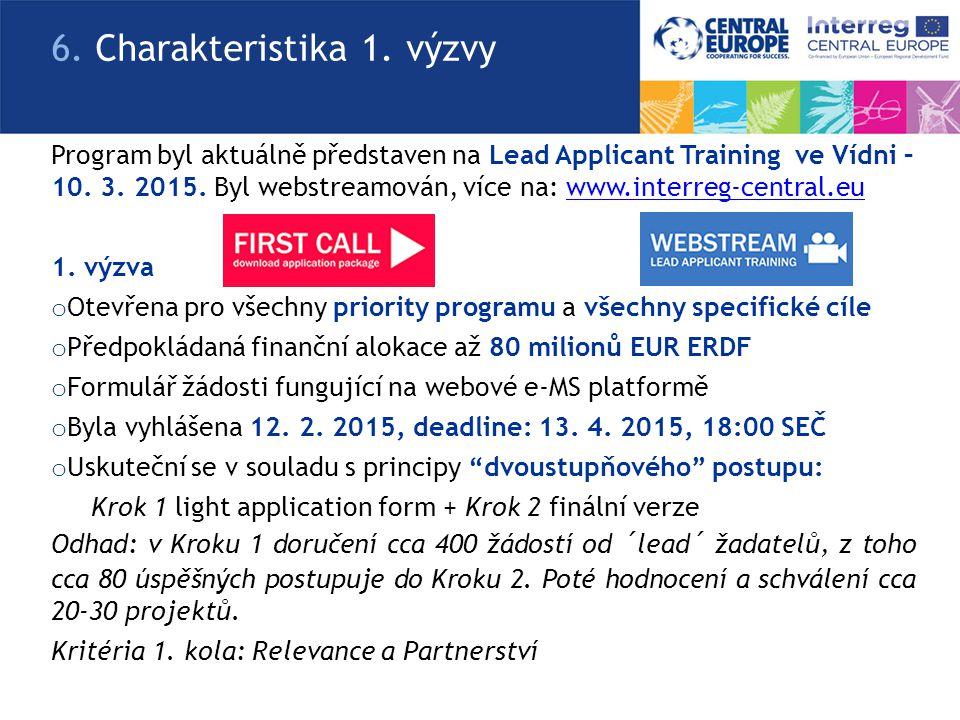 Program byl aktuálně představen na Lead Applicant Training ve Vídni – 10. 3. 2015. Byl webstreamován, více na: www.interreg-central.euwww.interreg-cen