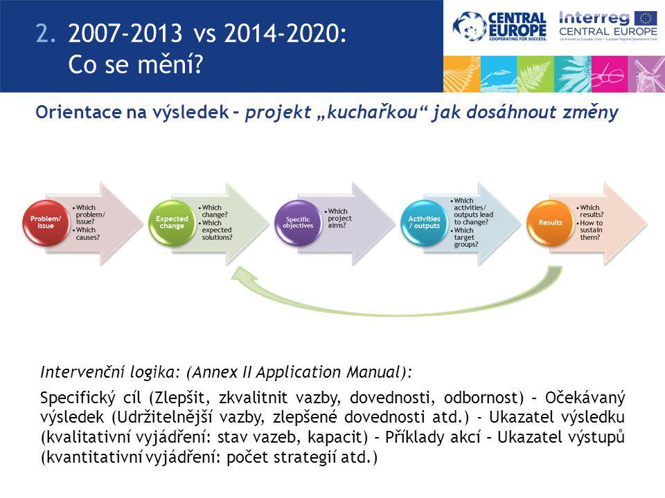 """Orientace na výsledek – projekt """"kuchařkou"""" jak dosáhnout změny 2.2007-2013 vs 2014-2020: Co se mění? Intervenční logika: (Annex II Application Manual"""