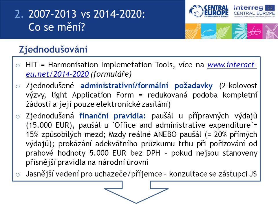 Zjednodušování o HIT = Harmonisation Implemetation Tools, více na www.interact- eu.net/2014-2020 (formuláře)www.interact- eu.net/2014-2020 o Zjednoduš