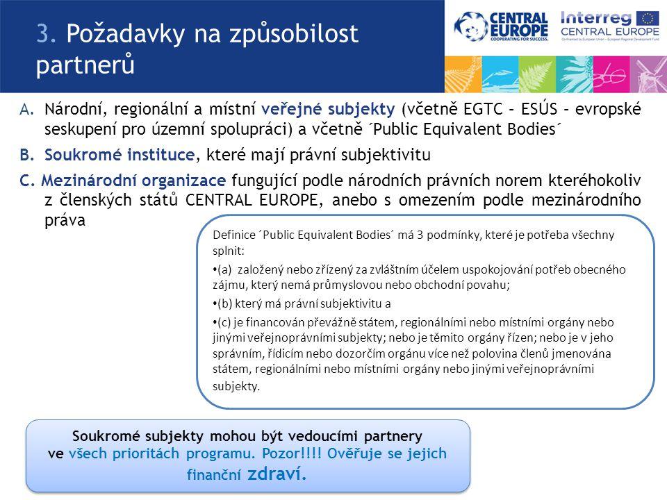 A.Národní, regionální a místní veřejné subjekty (včetně EGTC – ESÚS – evropské seskupení pro územní spolupráci) a včetně ´Public Equivalent Bodies´ B.