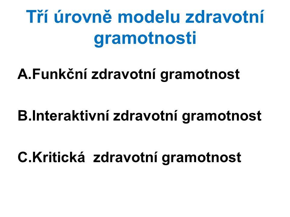 Tří úrovně modelu zdravotní gramotnosti A.Funkční zdravotní gramotnost B.Interaktivní zdravotní gramotnost C.Kritická zdravotní gramotnost