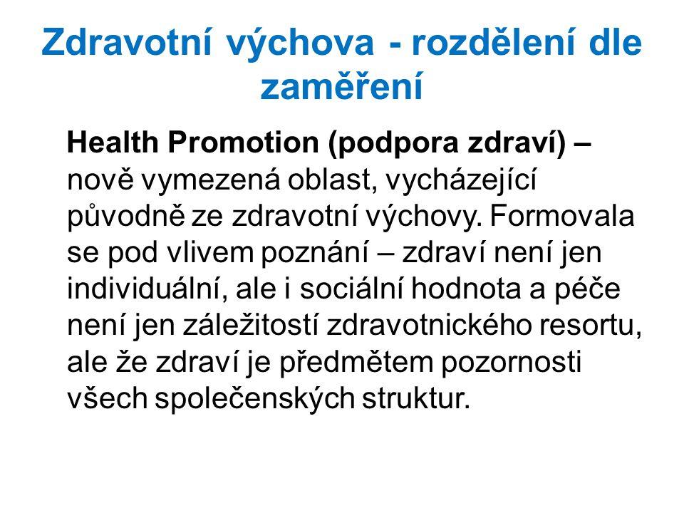 Zdravotní výchova - rozdělení dle zaměření Health Promotion (podpora zdraví) – nově vymezená oblast, vycházející původně ze zdravotní výchovy. Formova