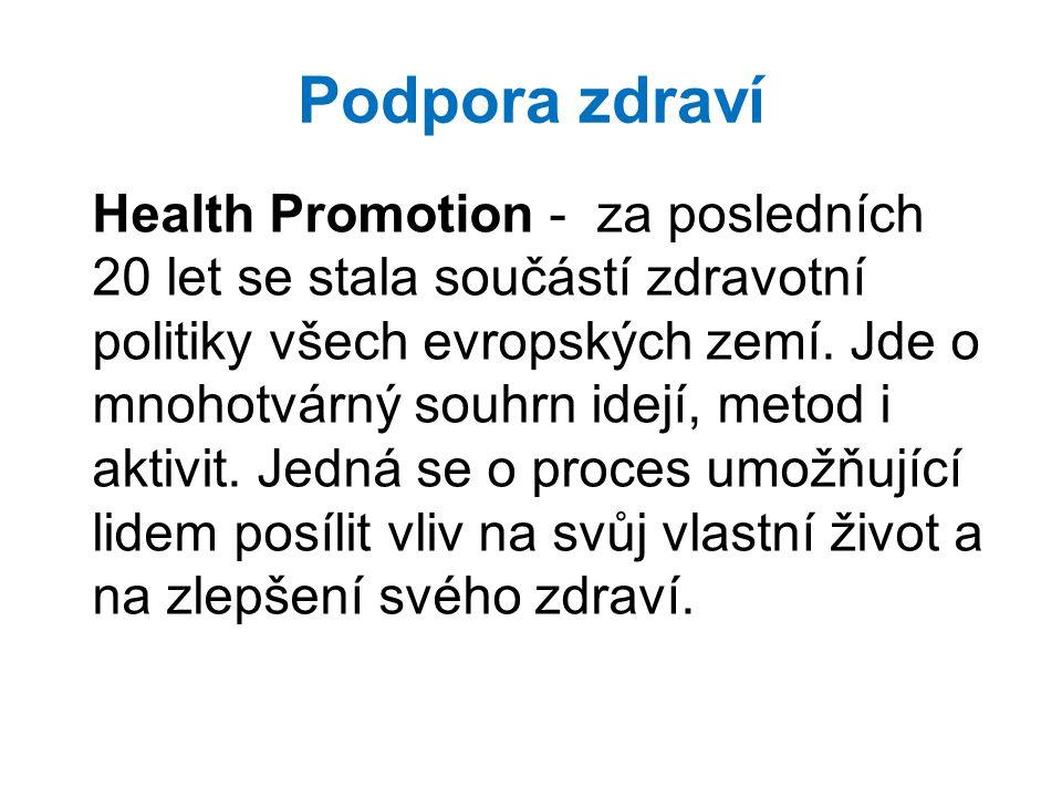 Podpora zdraví Health Promotion - za posledních 20 let se stala součástí zdravotní politiky všech evropských zemí. Jde o mnohotvárný souhrn idejí, met