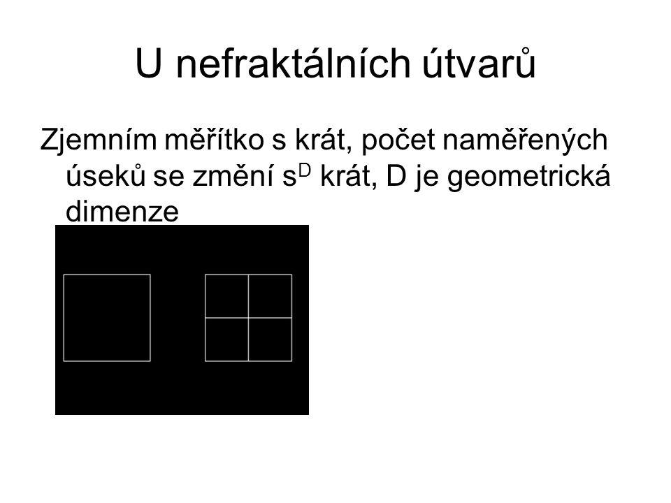 U nefraktálních útvarů Zjemním měřítko s krát, počet naměřených úseků se změní s D krát, D je geometrická dimenze
