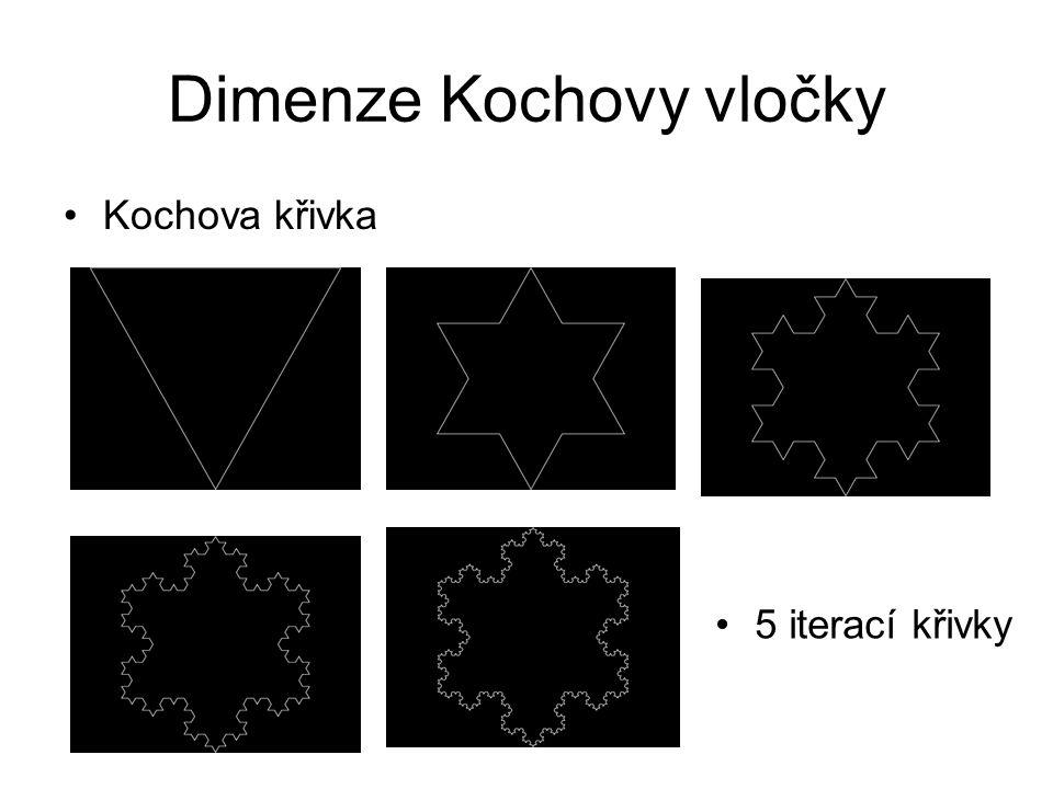Dimenze Kochovy vločky Kochova křivka 5 iterací křivky