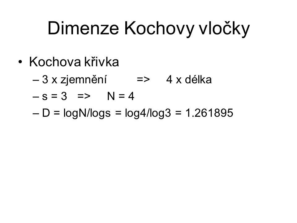Dimenze Kochovy vločky Kochova křivka –3 x zjemnění => 4 x délka –s = 3 => N = 4 –D = logN/logs = log4/log3 = 1.261895