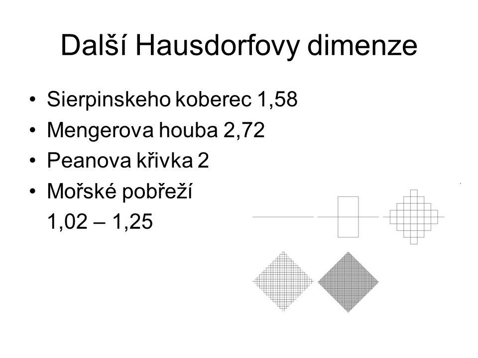 Další Hausdorfovy dimenze Sierpinskeho koberec 1,58 Mengerova houba 2,72 Peanova křivka 2 Mořské pobřeží 1,02 – 1,25